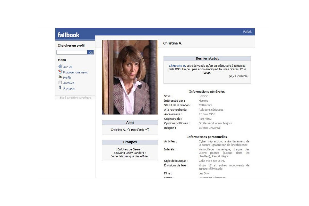Failbook - profil